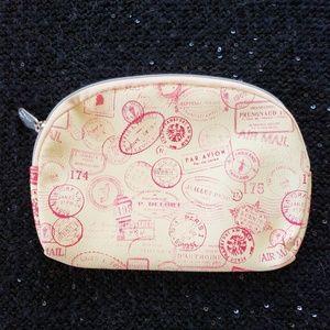 [ipsy] YELLOW PASSPORT STAMP PRINT Cosmetics Bag